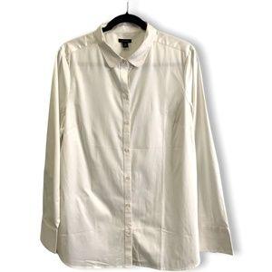 ANN TAYLOR IVORY COTTON OXFORD CLOTH LS SHIRT 14